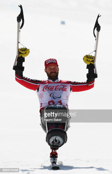 Gold Medalist Kurt Oatway of Canada celebrates during the victory ceremony for the Men's SuperG Sitting Alpine Skiing during day two of the...