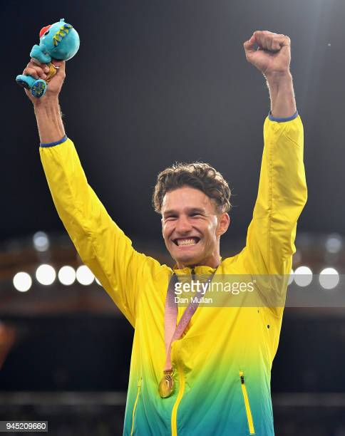 Gold medalist Kurtis Marschall of Australia celebrates during the medal ceremony for the Men's Pole Vault during athletics on day eight of the Gold...