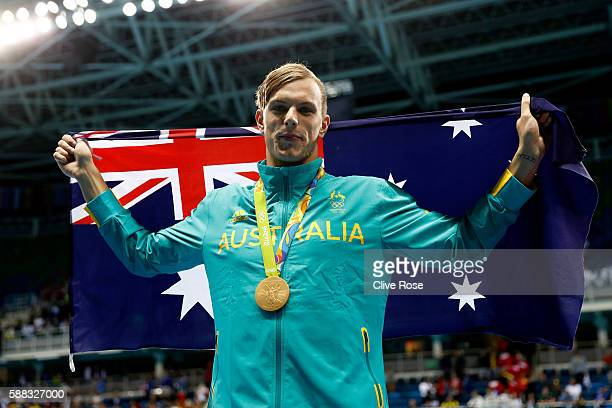 Gold medalist Kyle Chalmers of Australia poses during the medal ceremony for the Men's 100m Freestyle Final on Day 5 of the Rio 2016 Olympic Games at...