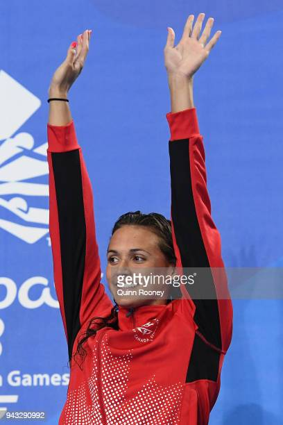 Gold medalist Kylie Masse of Canada poses during the medal ceremony for the Women's 200m Backstroke Final on day four of the Gold Coast 2018...