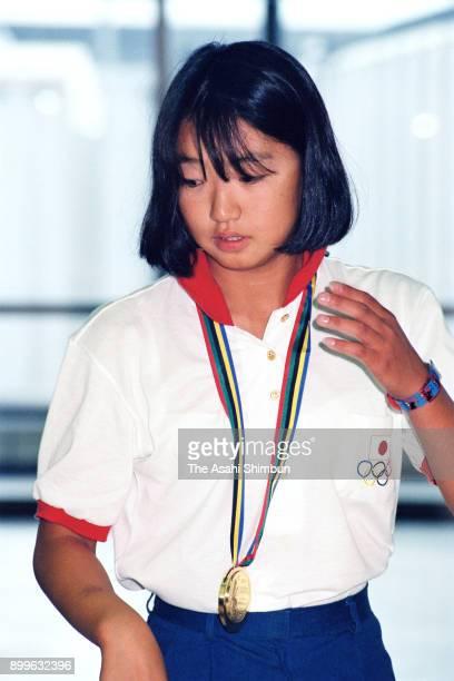 Gold medalist Kyoko Iwasaki is seen on arrival at Narita International Airport on August 4 1992 in Narita Chiba Japan