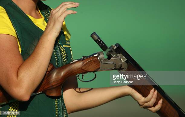 Gold medalist Laetisha Scanlan of Australia competes during the Women's Trap Finals during the Shooting on day nine of the Gold Coast 2018...