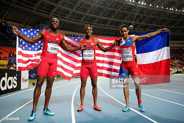 Gold medalist LaShawn Merritt of the United States silver medalist Tony McQuay of the United States and bronze medalist Luguelin Santos of the...