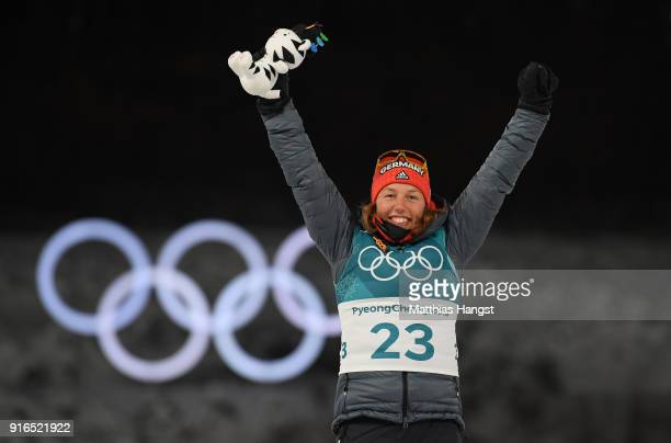 Gold medalist Laura Dahlmeier of Germany celebrates during the victory ceremony for the Women's Biathlon 75km Sprint on day one of the PyeongChang...