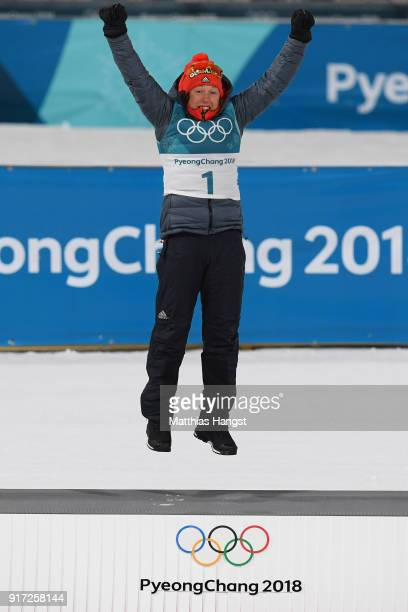 Gold medalist Laura Dahlmeier of Germany celebrates during the victory ceremony after the Women's Biathlon 10km Pursuit on day three of the...