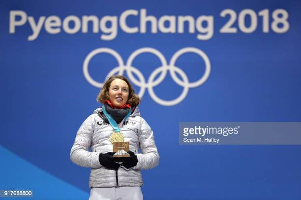 Gold medalist Laura Dahlmeier of Germany poses during the medal ceremony after the Women's Biathlon 10km Pursuit on day four of the PyeongChang 2018...