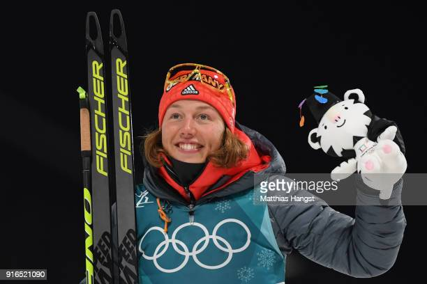 Gold medalist Laura Dahlmeier of Germany poses during the victory ceremony for the Women's Biathlon 75km Sprint on day one of the PyeongChang 2018...