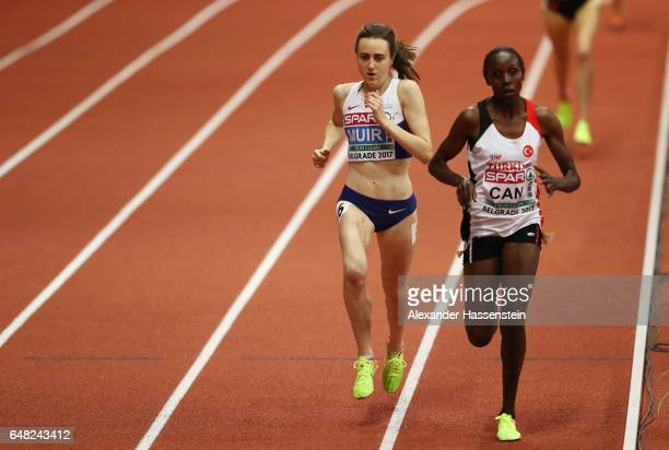 Gold medalist Laura Muir of Great Britain overtakes semin Can of Turkey during the Women's 3000 metres final on day three of the 2017 European...