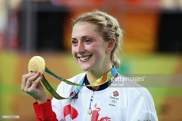 Gold medalist Laura Trott of Great Britain celebrates during the medal ceremony after the women's Omnium Points race on Day 11 of the Rio 2016...