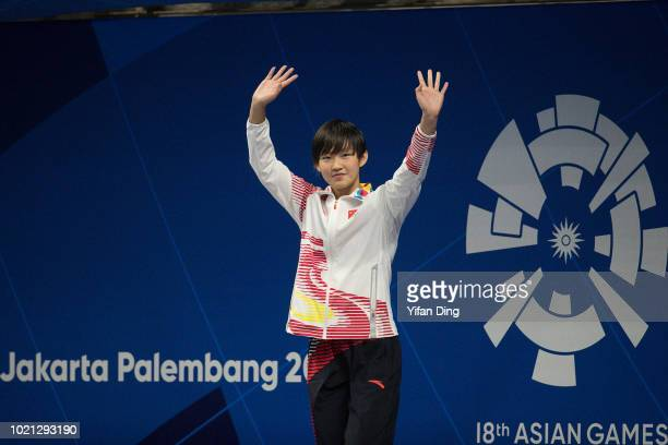Gold medalist Li Bingjie of China in action during Women's 200m Freestyle Swimming medal ceremony on day four of the Asian Games on August 22 2018 in...