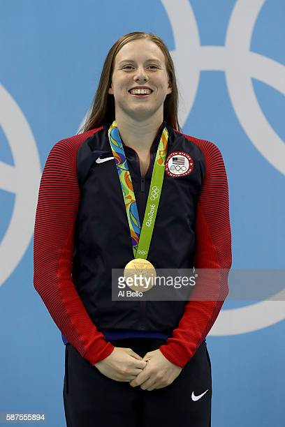 Gold medalist Lilly King of the United States poses during the medal ceremony for the Women's 100m Breaststroke Final on Day 3 of the Rio 2016...
