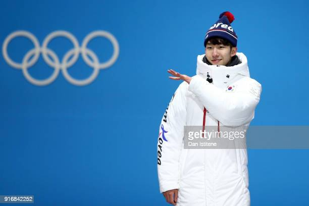 Gold medalist Lim Hyo Jun of South Korea celebrates on the podium during the Medal Ceremony for the Men's Short Track 1500m on day two of the...