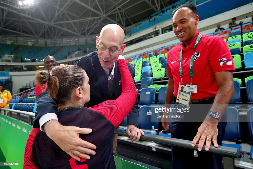Gold medalist Lindsay Whalen #4 of United States is congratulated by NBA Commissioner Adam Silver after the Women's Basketball competition on Day 15 of the Rio 2016 Olympic Games at Carioca Arena 1 on August 20, 2016 in Rio de Janeiro, Brazil.