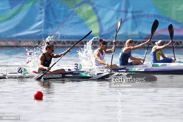 Gold medalist Lisa Carrington of New Zealand competes during the Women's Kayak Single 200m A on Day 11 of the Rio 2016 Olympic Games at the Lagoa...