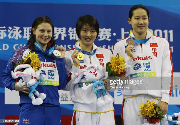 Gold medalist Liuyang Jiao of China poses with silver medalist Ellen Gandy of Great Britain and bronze medalist Zige Liu of China after the Women's...