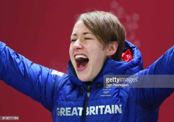Gold medalist Lizzy Yarnold of Great Britain celebrates during the victory ceremony after the Women's Skeleton on day eight of the PyeongChang 2018...