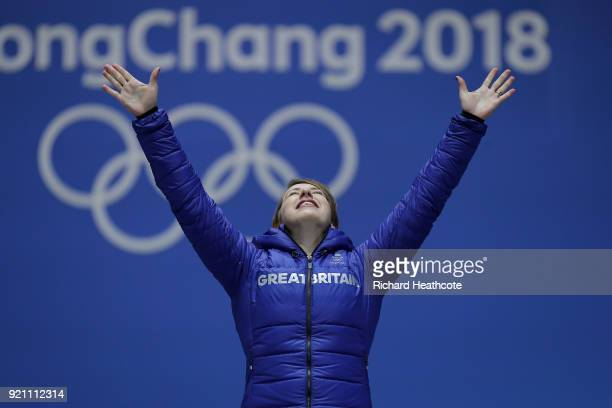 Gold medalist Lizzy Yarnold of Great Britain celebrates during the medal ceremony for the Women's Skeleton on day nine of the PyeongChang 2018 Winter...