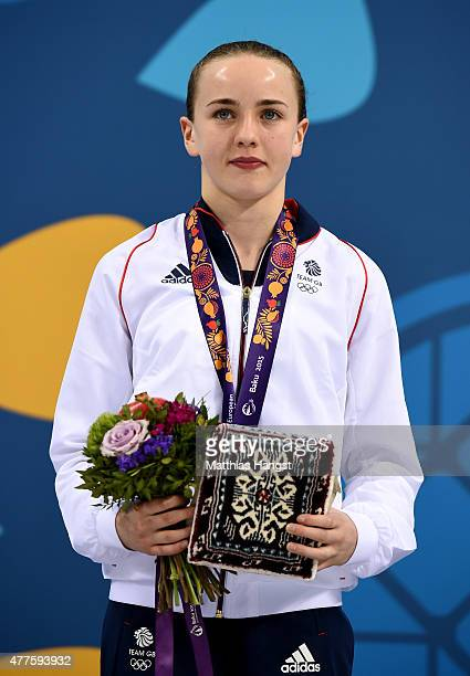 Gold medalist Lois Toulson of Great Britain poses with the medal won in the Women's Diving Platform Final during day six of the Baku 2015 European...
