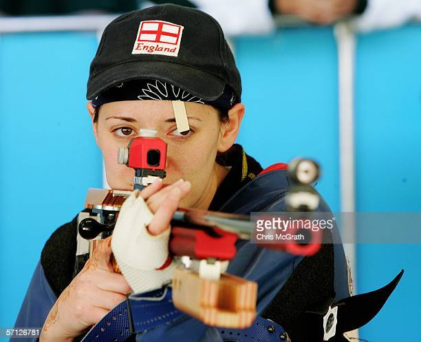 Gold Medalist, Louise Minett of England poses after winning the Women's 50m Rifle 3 Positions Pairs Final at the Melbourne International Shooting...