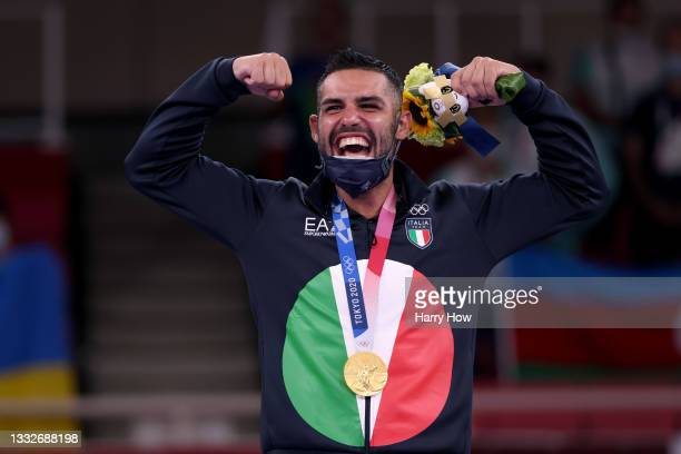 Gold medalist Luigi Busa of Team Italy poses with the gold medal for the Men's Karate Kumite -75kg on day fourteen of the Tokyo 2020 Olympic Games at...