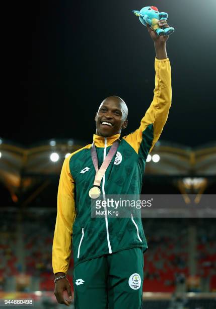 Gold medalist Luvo Manyonga of South Africa celebrates during the medal ceremony for the Men's Long Jump during athletics on day seven of the Gold...