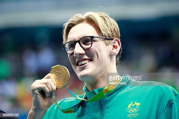 Gold medalist Mack Horton of Australia poses during the medal ceremony for the Final of the Men's 400m Freestyle on Day 1 of the Rio 2016 Olympic...