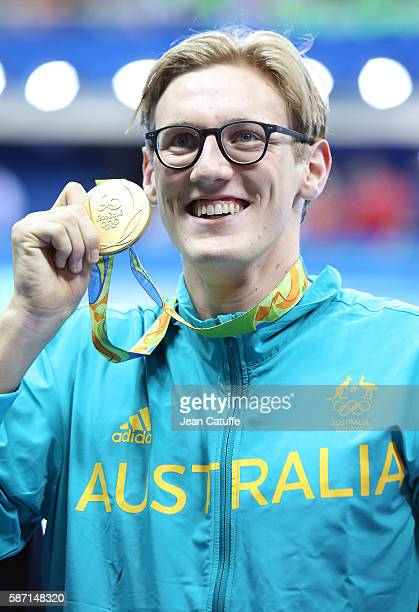 Gold medalist Mack Horton of Australia poses during the medal ceremony for the Men's 400m Freestyle final on day 1 of the Rio 2016 Olympic Games at...