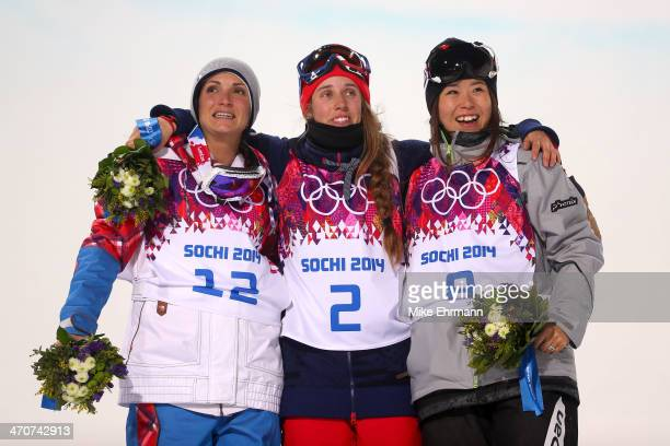 Gold medalist Maddie Bowman of the United States poses with silver medalist Marie Martinod of France and bronze medalist Ayana Onozuka of Japan...
