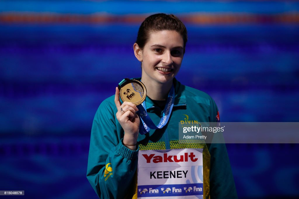 Gold medalist Maddison Keeney of Australia following the Womens Diving 1m Springboard Final on day two of the Budapest 2017 FINA World Championships on July 15, 2017 in Budapest, Hungary.