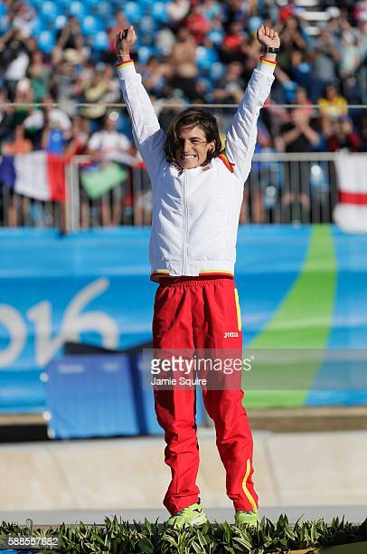 Gold medalist Maialen Chourraut of Spain celebrates on the podium during the medal ceremony for the Women's Kayak on Day 6 of the Rio 2016 Olympics...