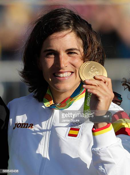 Gold medalist Maialen Chourraut of Spain poses with her gold medal during the medal ceremony for the Women's Kayak on Day 6 of the Rio 2016 Olympics...