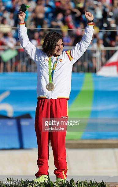 Gold medalist Maialen Chourraut of Spain stands on the podium during the medal ceremony for the Women's Kayak on Day 6 of the Rio 2016 Olympics at...