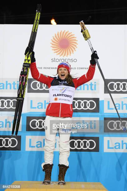 Gold medalist Maiken Caspersen Falla of Norway celebrates her victory in the Women's 1.4KM Cross Country Sprint final during the FIS Nordic World Ski...