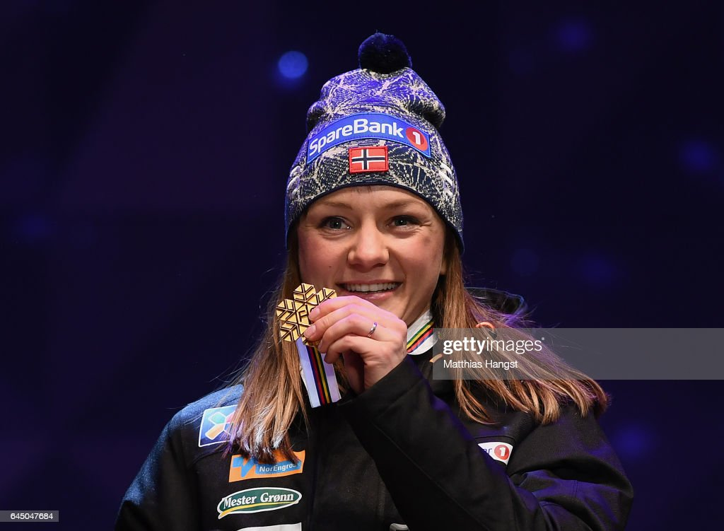 Gold medalist Maiken Caspersen Falla of Norway poses with her medal during the medal ceremony after the Women's 1.4KM Cross Country Sprint final during the FIS Nordic World Ski Championships onon February 24, 2017 in Lahti, Finland.