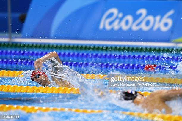 Gold medalist Maksym Krypak of Ukraine competes in the Men's 400m Freestyle S10 Final on day 8 of the Rio 2016 Paralympic Games at Olympic Aquatics...