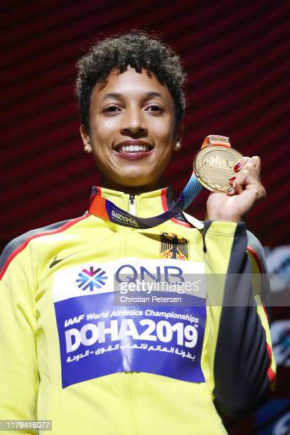Gold medalist Malaika Mihambo of Germany stands on the podium during the medal ceremony for the Women's Long Jump during day ten of 17th IAAF World...