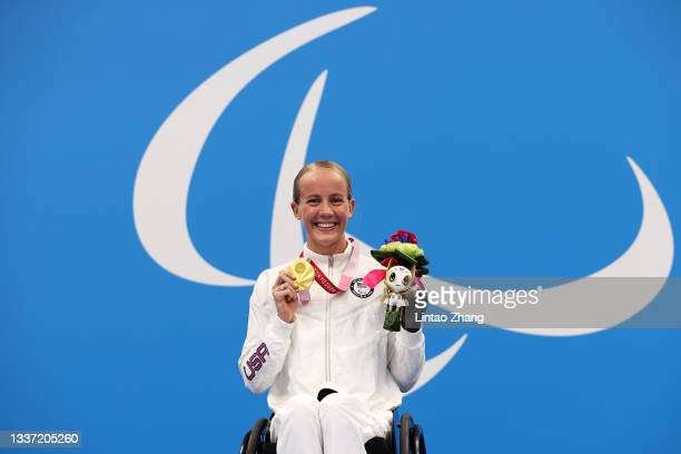 Gold medalist Mallory Weggemann of Team United States poses in the podium of Women's 100m Backstroke - S7 on day 6 of the Tokyo 2020 Paralympic Games...