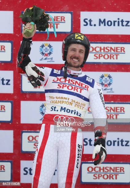 Gold medalist Marcel Hirscher of Austria celebrates on the podium following the Men's Giant Slalom during the FIS Alpine World Ski Championships on...