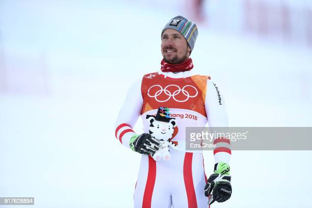 Gold medalist Marcel Hirscher of Austria celebrates on the podium during the Men's Alpine Combined Slalom on day four of the PyeongChang 2018 Winter...