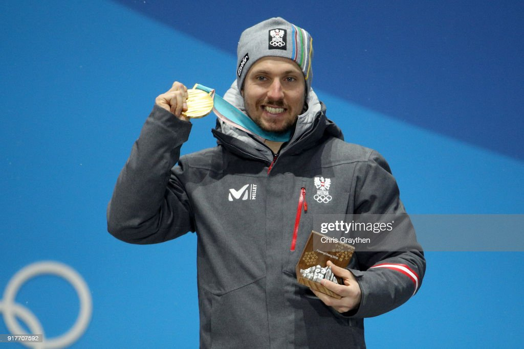 Gold medalist Marcel Hirscher of Austria poses during the medal ceremony for the Men's Alpine Combined Slalom on day four of the PyeongChang 2018 Winter Olympic Games at Medal Plaza on February 13, 2018 in Pyeongchang-gun, South Korea.