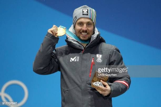 Gold medalist Marcel Hirscher of Austria poses during the medal ceremony for the Men's Alpine Combined Slalom on day four of the PyeongChang 2018...