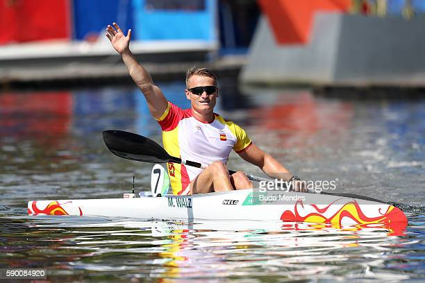 Gold medalist Marcus Walz of Spain celebrates after the Men's Kayak Single 1000m Final A on Day 11 of the Rio 2016 Olympic Games at the Lagoa Stadium...