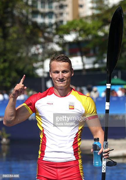 Gold medalist Marcus Walz of Spain celebrates after winning the Men's Kayak Single 1000m Final A on Day 11 of the Rio 2016 Olympic Games at the Lagoa...