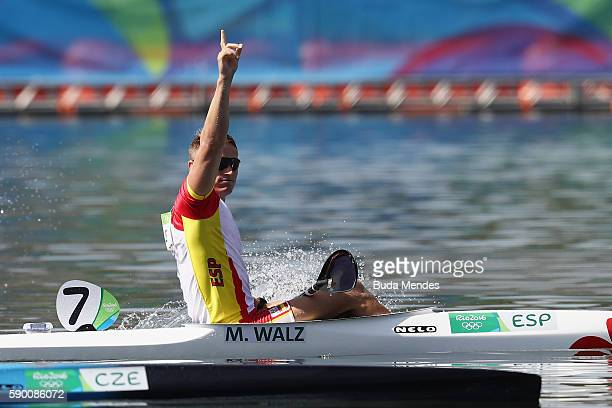 Gold medalist Marcus Walz of Spain celebrates during the medal ceremony during the Men's Kayak Single 1000m Final A on Day 11 of the Rio 2016 Olympic...