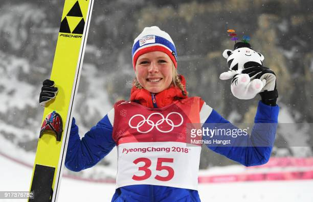 Gold medalist Maren Lundby of Norway celebrates after the Ladies' Normal Hill Individual Ski Jumping Final on day three of the PyeongChang 2018...