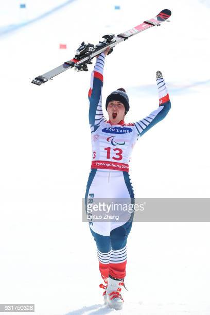 Gold Medalist Marie Bochet of France celebrates at the victory ceremony for Women's Giant Slalom Run 2 Standing at Alpensia Biathlon Centre on day...