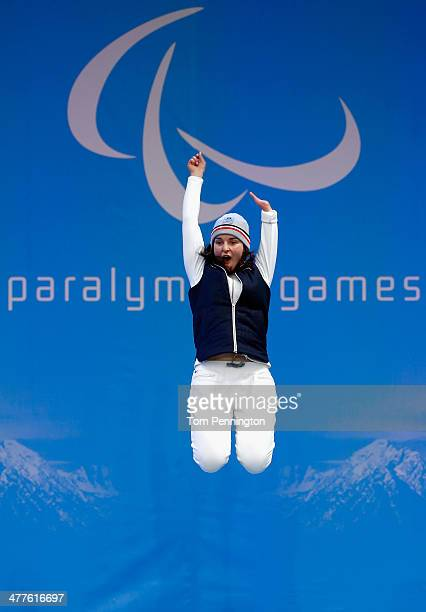 Gold medalist Marie Bochet of France celebrates during the medal ceremony for the Women's SuperG Standing during day three of Sochi 2014 Paralympic...