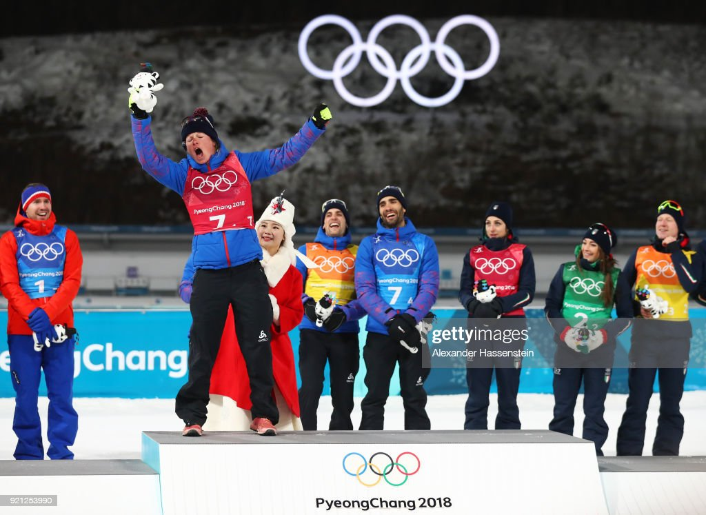 Gold medalist Marie Dorin Habert of France celebrates on the podium during the victory ceremony after the Biathlon 2x6km Women + 2x7.5km Men Mixed Relay on day 11 of the PyeongChang 2018 Winter Olympic Games at Alpensia Biathlon Centre on February 20, 2018 in Pyeongchang-gun, South Korea.