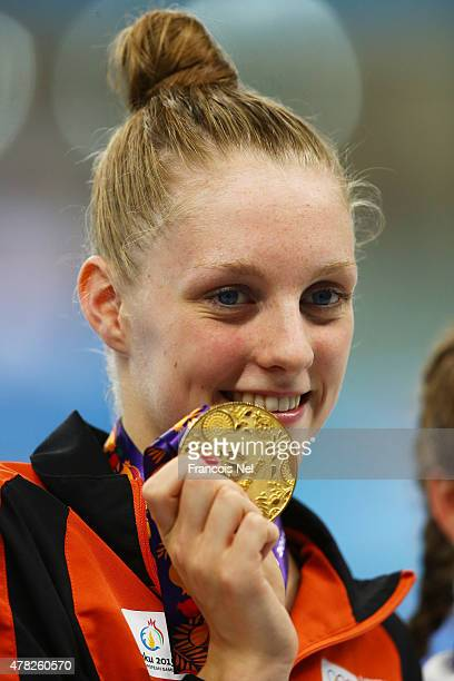 Gold medalist Marrit Steenbergen of the Netherlands celebrates during the medal ceremony for the Women's 100m Freestyle final during day twelve of...