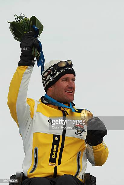 Gold medalist Martin Braxenthaler of Germany celebrates at the medal ceremony for the Men's Sitting Super Combined during Day 9 of the 2010 Vancouver...